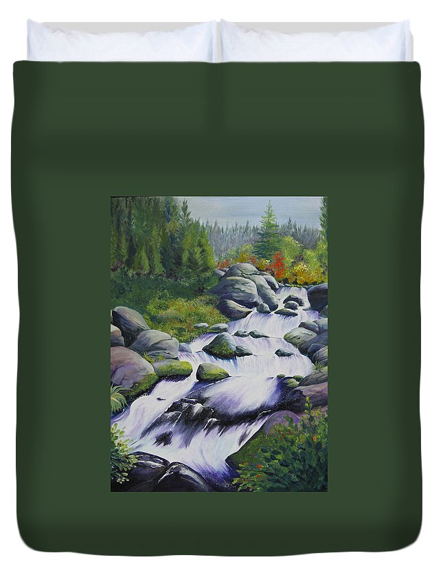 Waterfall Duvet Cover featuring the painting Rocky Creek by Karen Stark