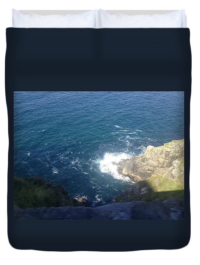 Duvet Cover featuring the mixed media Rocky Fall by Christina McNee-Geiger