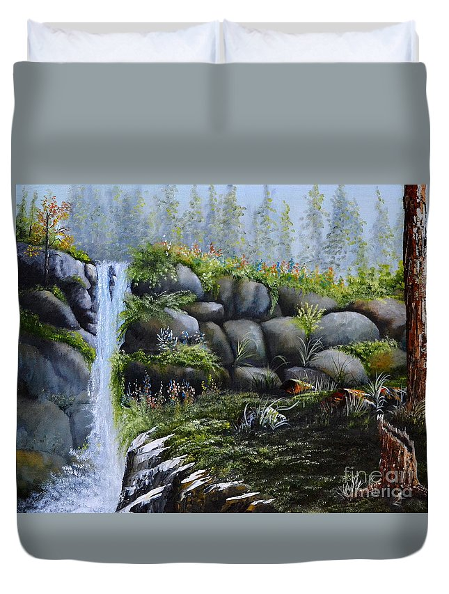 A Waterfalls In The Woods With Large Boulders Duvet Cover featuring the painting Rocky Falls by Martin Schmidt