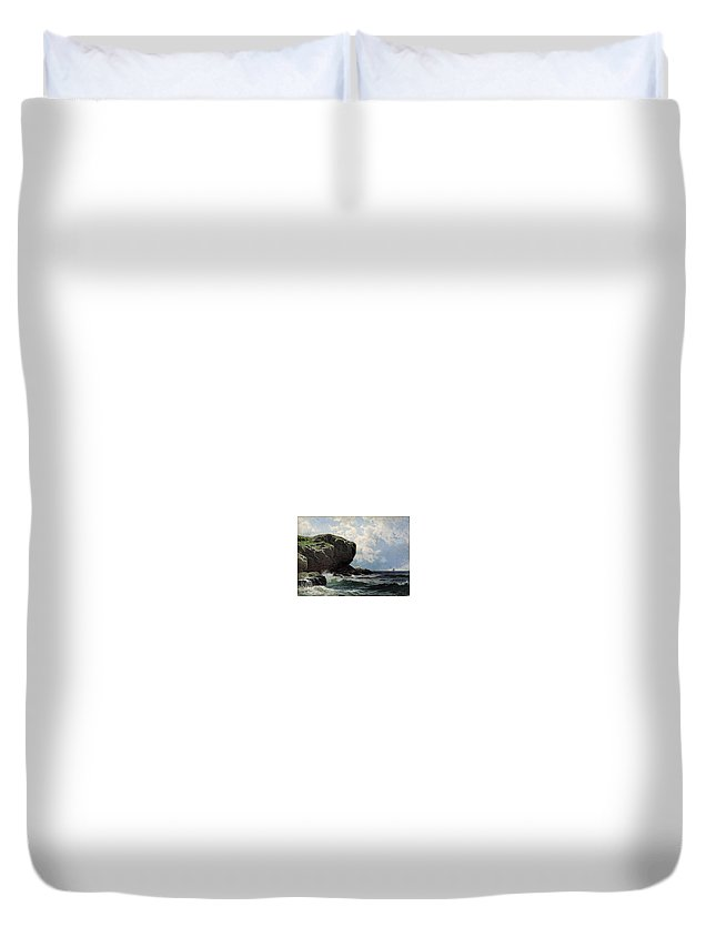 Bricher_rocky_head Duvet Cover featuring the painting Rocky Head by MotionAge Designs