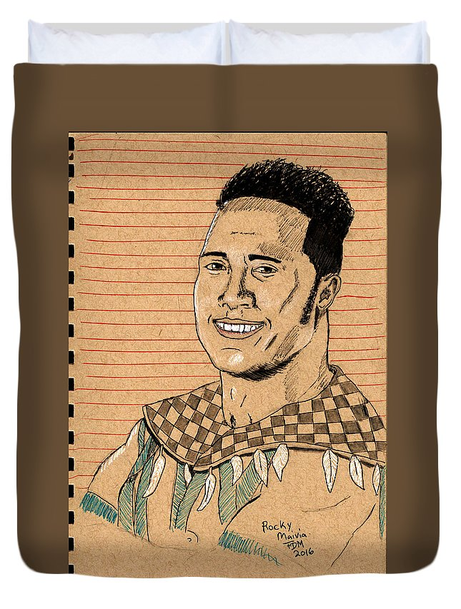 Rock Duvet Cover featuring the painting Rocky Maivia by Frank Middleton
