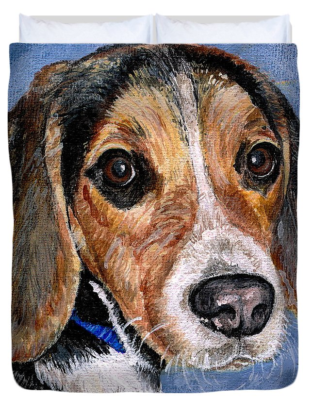 Dog Duvet Cover featuring the painting Rocky by Mary-Lee Sanders