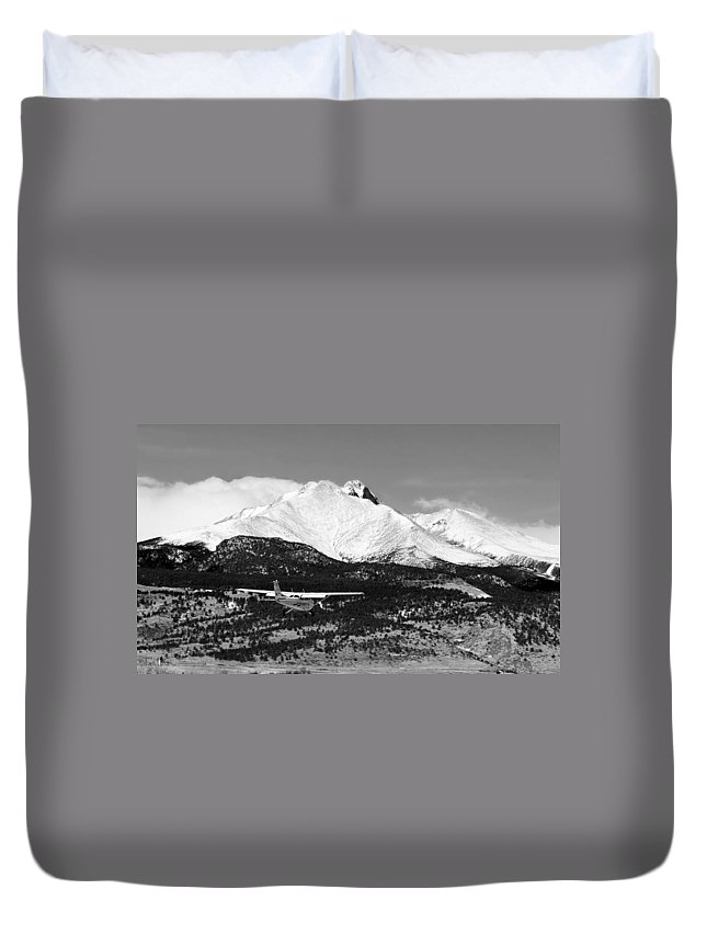 Aircraft Duvet Cover featuring the photograph Rocky Mountain Flying by James BO Insogna