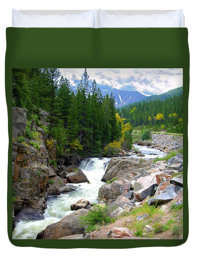 Landscape Duvet Cover featuring the photograph Rocky Mountain Stream by John Lautermilch