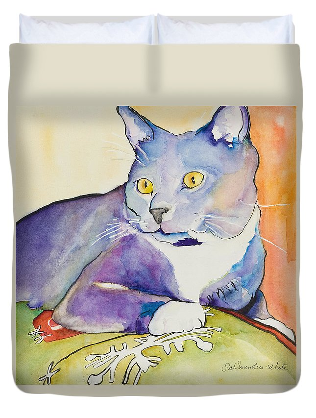 Pat Saunders-white Duvet Cover featuring the painting Rocky by Pat Saunders-White