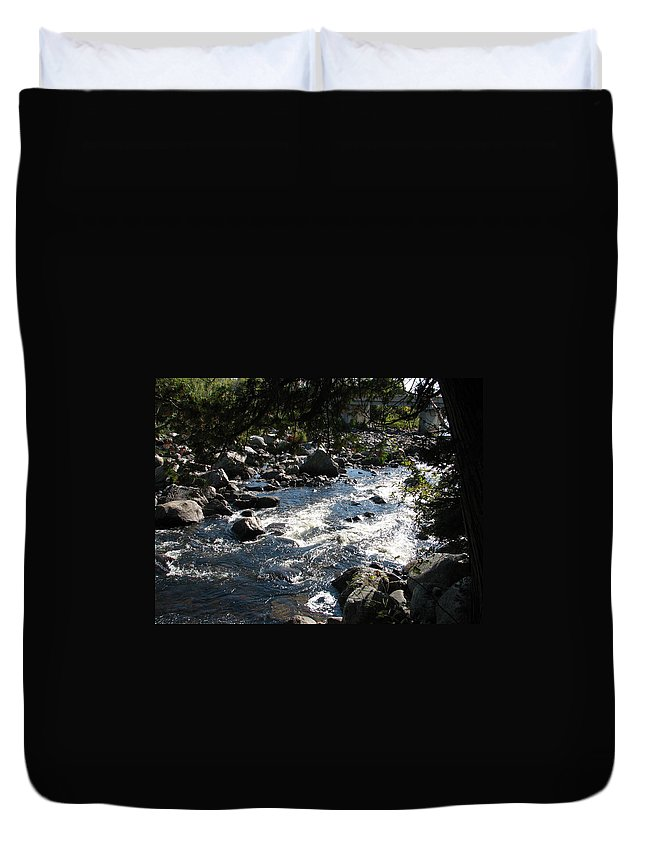 Water Duvet Cover featuring the photograph Rocky Rapids by Kelly Mezzapelle