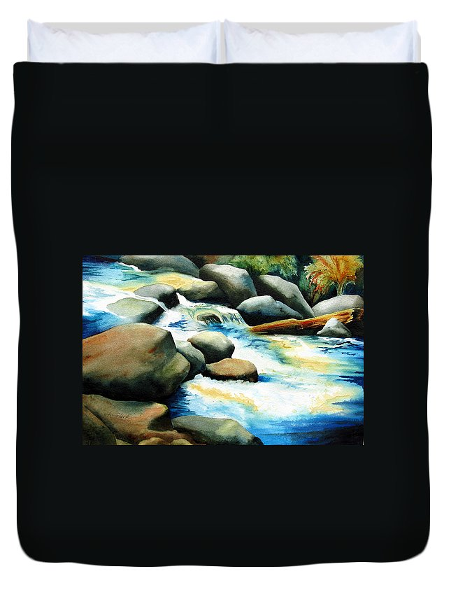Landscape Duvet Cover featuring the painting Rocky River Run by Karen Stark