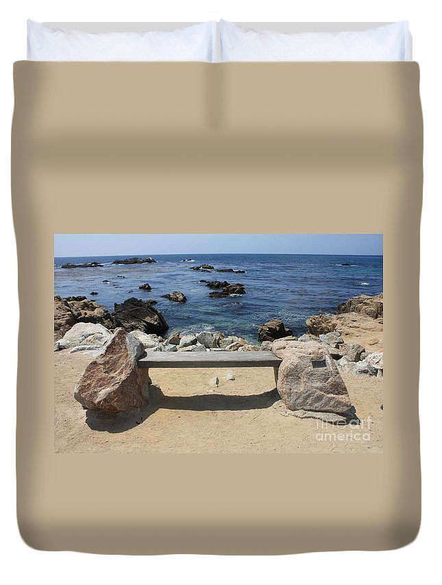 Seaside Bench Duvet Cover featuring the photograph Rocky Seaside Bench by Carol Groenen