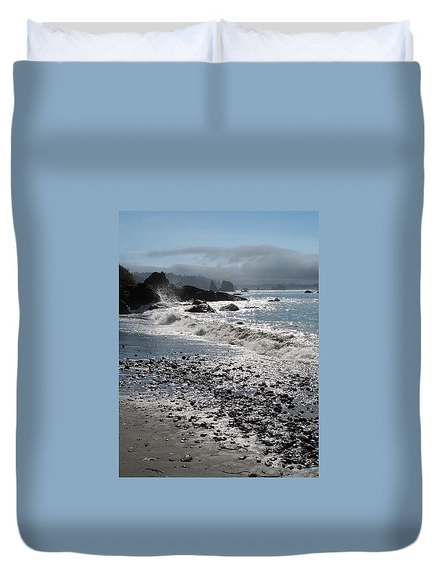 Ocean Duvet Cover featuring the photograph Rocky Shores by Gale Cochran-Smith