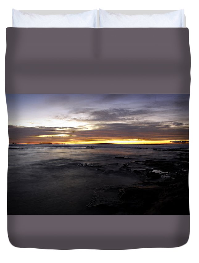 Newcastle Duvet Cover featuring the photograph Rocky Start by Michael James