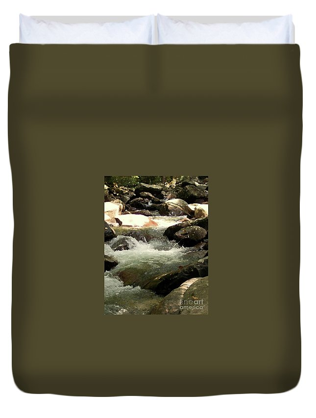 Rocky Shore Duvet Cover featuring the mixed media Rocky Stream 4 by Desiree Paquette
