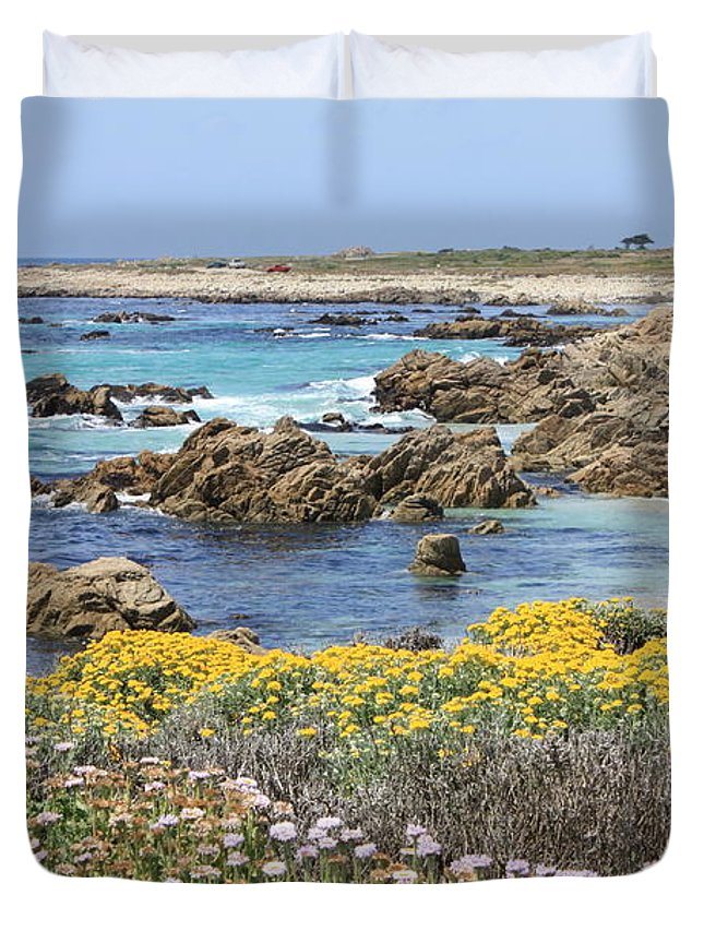 Ocean Duvet Cover featuring the photograph Rocky Surf With Wildflowers by Carol Groenen