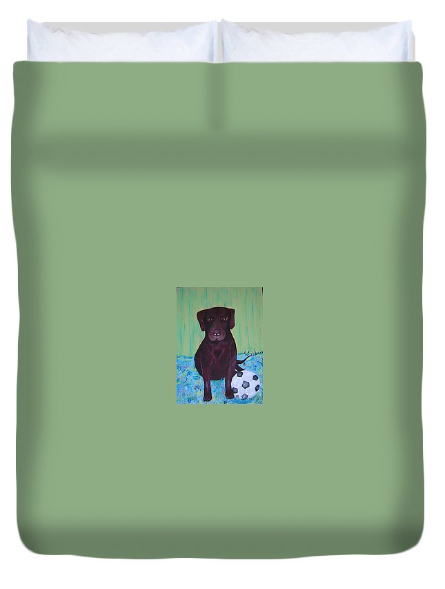 Dog Duvet Cover featuring the painting Rocky by Valerie Josi