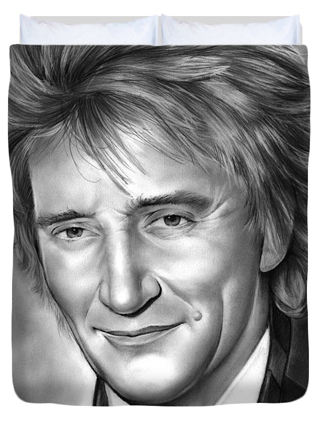Rod Stewart Duvet Cover featuring the drawing Rod Stewart by Greg Joens