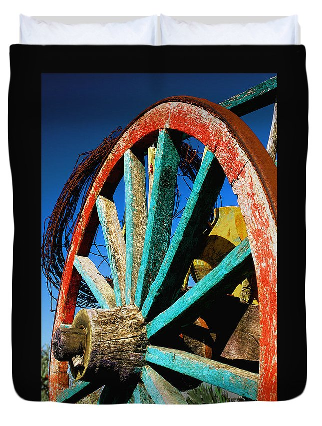 Wagon Wheel Duvet Cover featuring the photograph Rode Hard And Put Up - Wagon Wheel Rustic Country Rural Antique by Jon Holiday