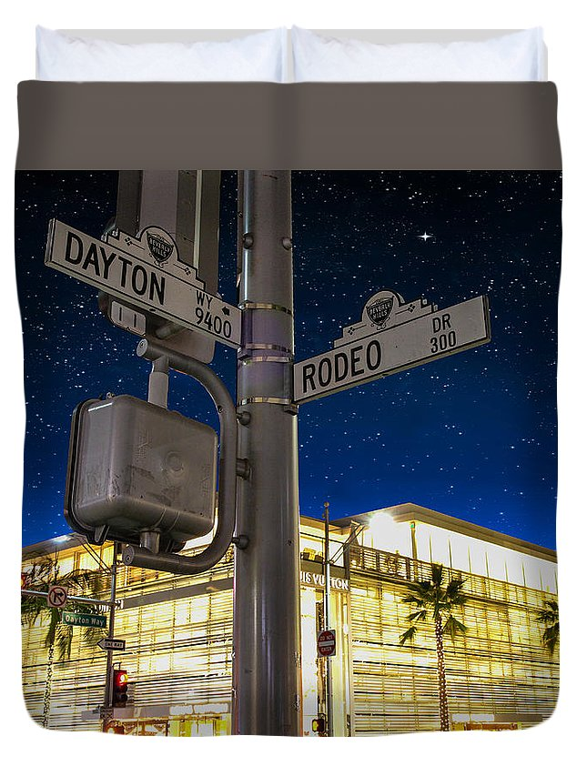 Intersection Of Dayton And Rodeo Drive Duvet Cover featuring the photograph Rodeo Dr. And Dayton Way by Robert Hebert