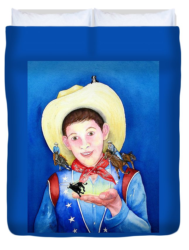 Boy Duvet Cover featuring the painting Rodeo Magic by Gale Cochran-Smith