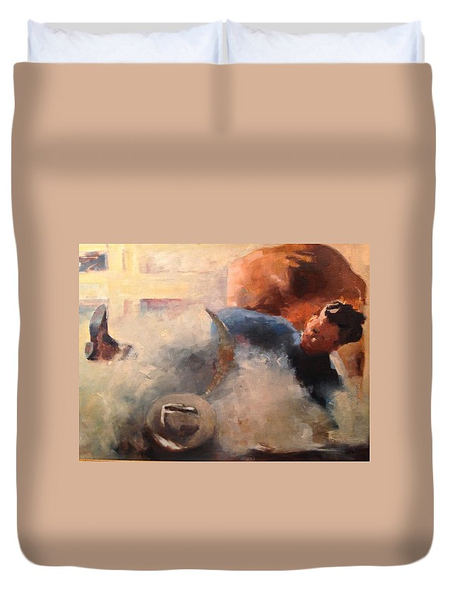 Rodeo Duvet Cover featuring the painting Rodeo Time by R W Carlson