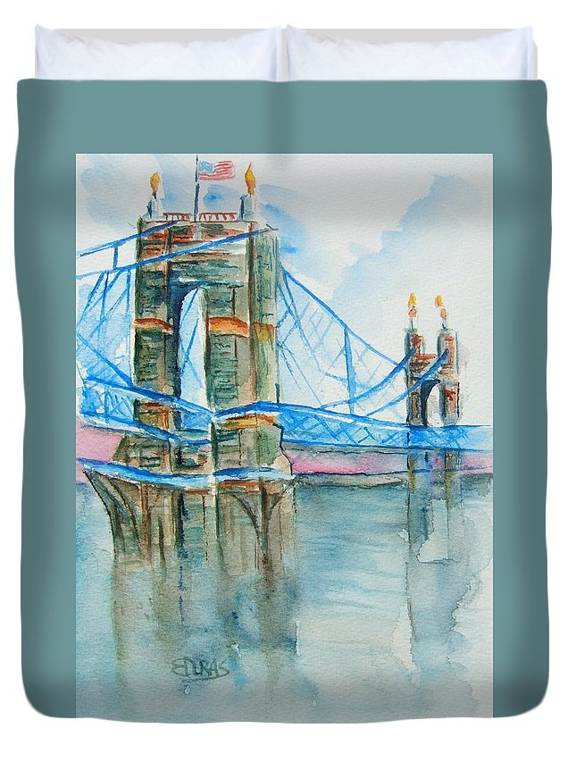 Roebling Bridge Duvet Cover featuring the painting Roebling On The Ohio River by Elaine Duras