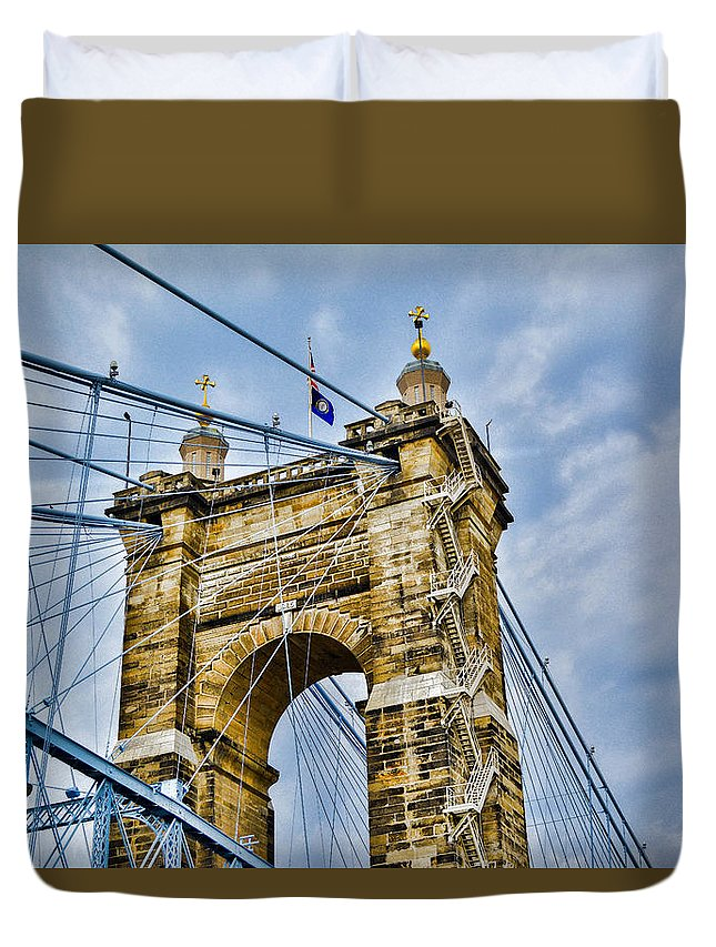 Roebling Duvet Cover featuring the photograph Roebling Suspension Bridge by Tyler Mitchell