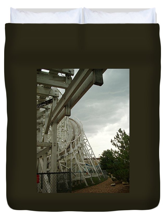 Wooden Roller Coaster Duvet Cover featuring the photograph Roller Coaster 5 by Sara Stevenson