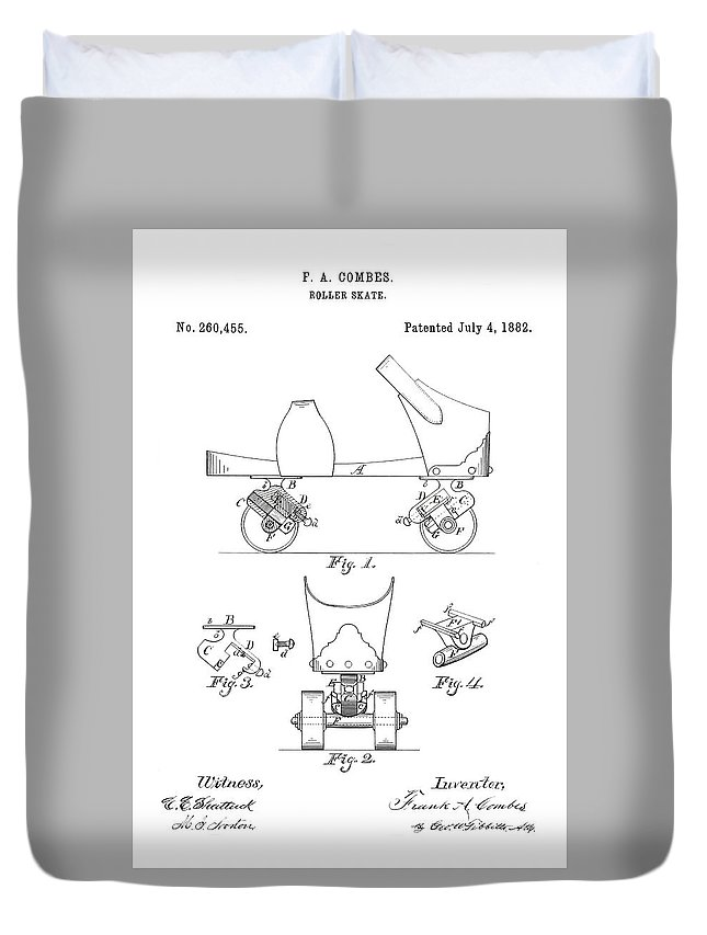 Roller Skate Patent Duvet Cover featuring the photograph Roller Skate Patent - Restored Patent Drawing For The 1882 F. A. Combes Roller Skate by Jose Elias - Sofia Pereira
