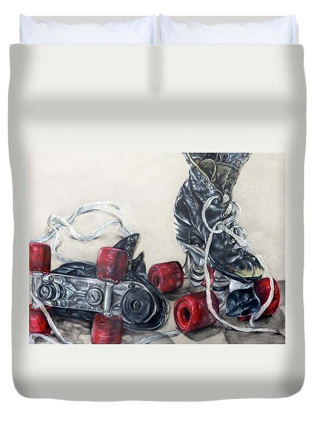 Roller Skates Duvet Cover featuring the drawing Roller Skates by Camellia Jiles