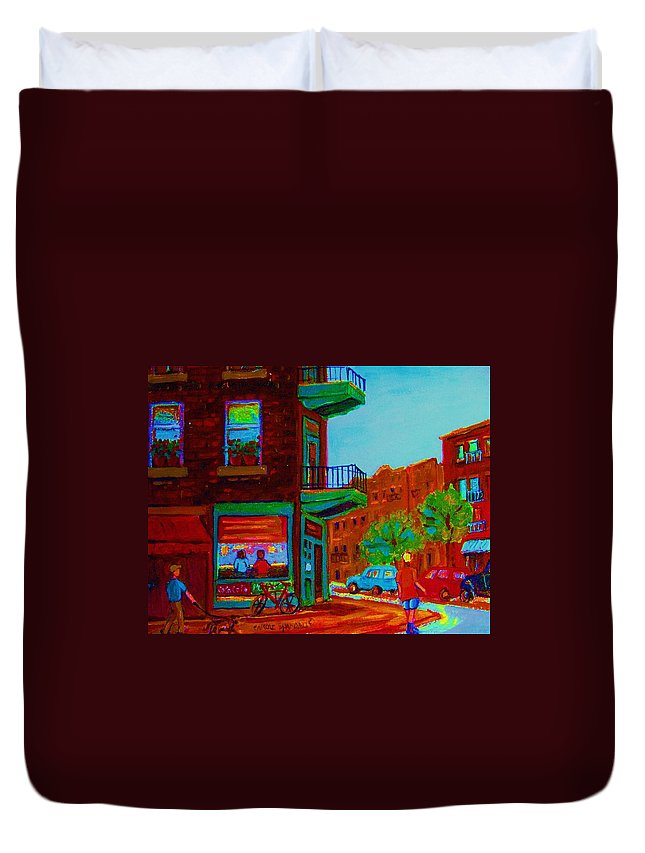 Wilenskys Duvet Cover featuring the painting Rollerblading Past The Cafe by Carole Spandau