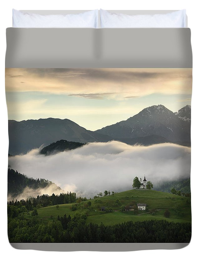 Sunrise Duvet Cover featuring the photograph Rolling Fog At Sunrise In The Skofjelosko Hills With St Thomas C by Reimar Gaertner