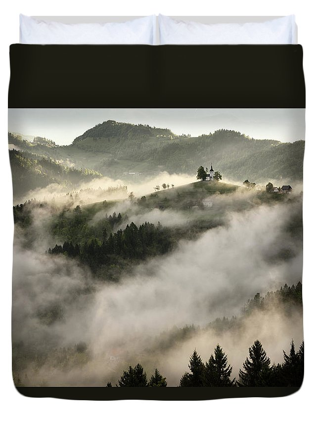 Sunrise Duvet Cover featuring the photograph Rolling Fog At Sunrise In The Skofjelosko Hribovje Hills With St by Reimar Gaertner