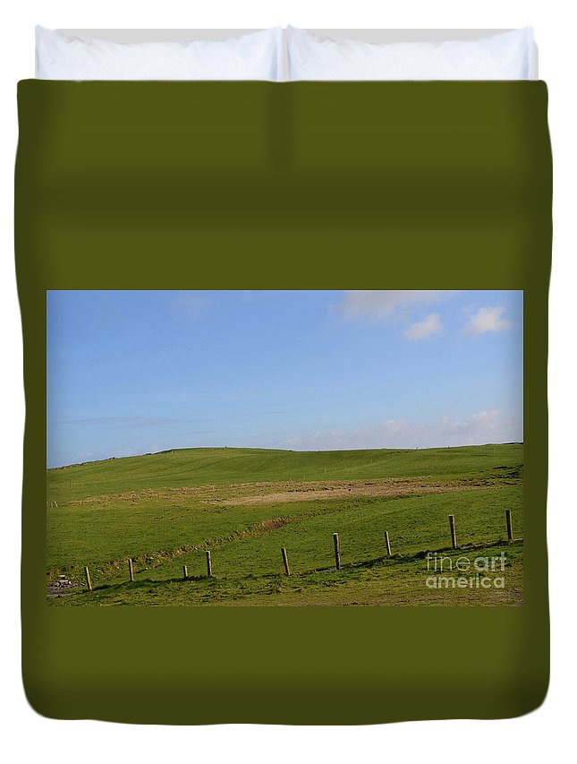 Hills Duvet Cover featuring the photograph Rolling Hills And Fields Along The Cliff's Of Moher by DejaVu Designs