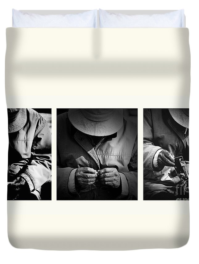 Rollup Rolling Cigarette Smoker Smoking Man Hat Monochrome Duvet Cover featuring the photograph Rolling His Own by Sheila Smart Fine Art Photography