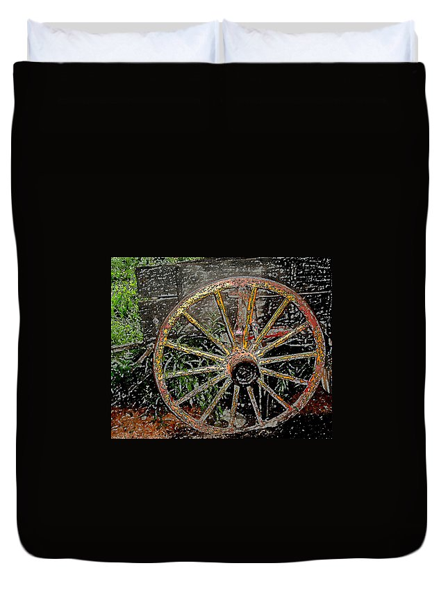 Wagon Wheel Duvet Cover featuring the photograph Rolling No More by Wayne Potrafka