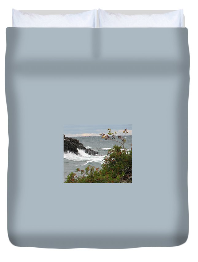 Waves Duvet Cover featuring the photograph Rolling Storm by Kelly Mezzapelle