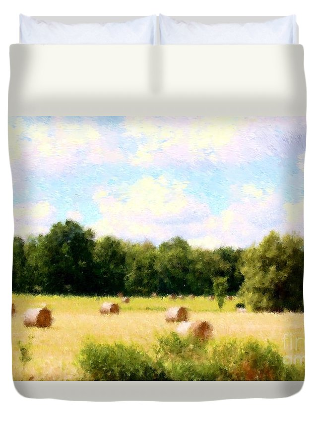 Nature Duvet Cover featuring the photograph Rolling The Hay by David Lane