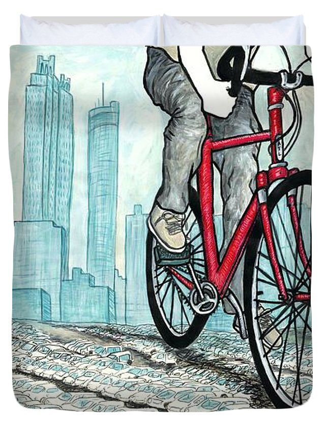 Bicycle Duvet Cover featuring the mixed media Rolling Through by Natalie Huggins