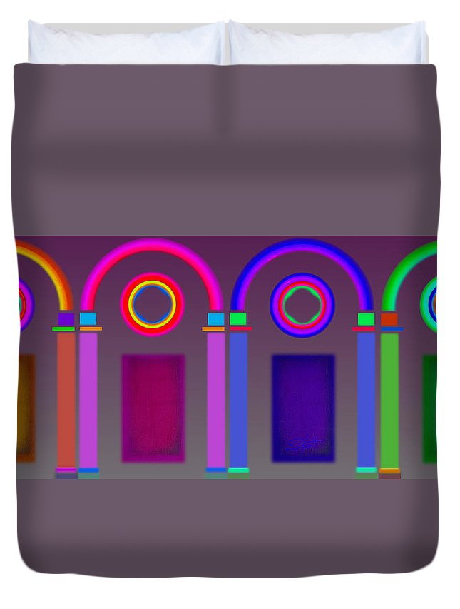 Classical Duvet Cover featuring the digital art Roman Arches by Charles Stuart