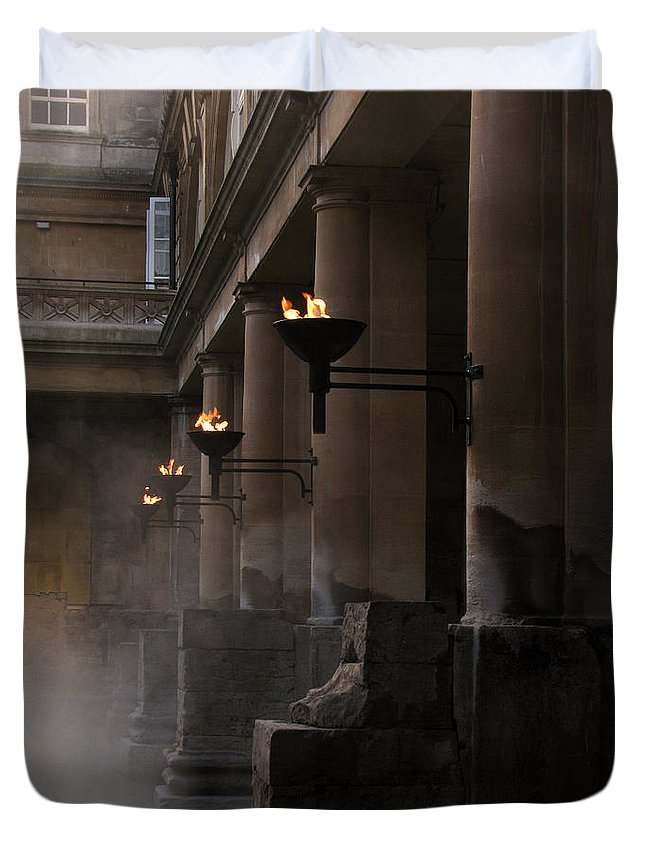 Bath Duvet Cover featuring the photograph Roman Baths by Amanda Barcon
