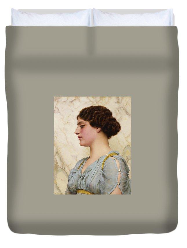 John William Godward  A Roman Beauty Duvet Cover featuring the painting Roman Beauty by John William Godward