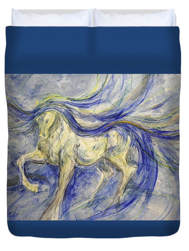 Dressage Dancing Horse Abstract Mixed Media Pirouette Equine Expression Extension Freedom Grand Prix Music Racing Racehorse Impulsion Lipizzaner Musical Freestyle Lightness Majestic Passage Piaffee Pura Raza Espanola Quarterhorse Thoroughbred Arabian Andalusian Balance Cadence Canter Dutch Warmblood Show Jumping Spanish Sporthorse Strength Submission Trakehner Transitions Westphalian Colorful Animal Whimsical Tempi Changes Gypsy Vanner Stallion Elasticity Eventing Equitation Equestrian Half-pass Duvet Cover featuring the painting Roman by Jennifer Fosgate