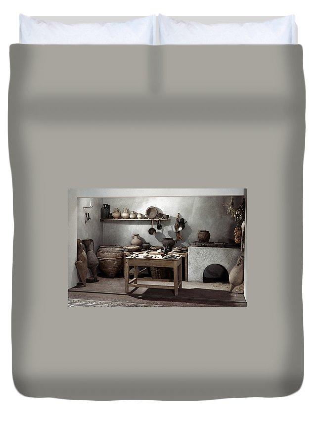 100 Duvet Cover featuring the photograph Roman Kitchen, 100 A.d by Granger