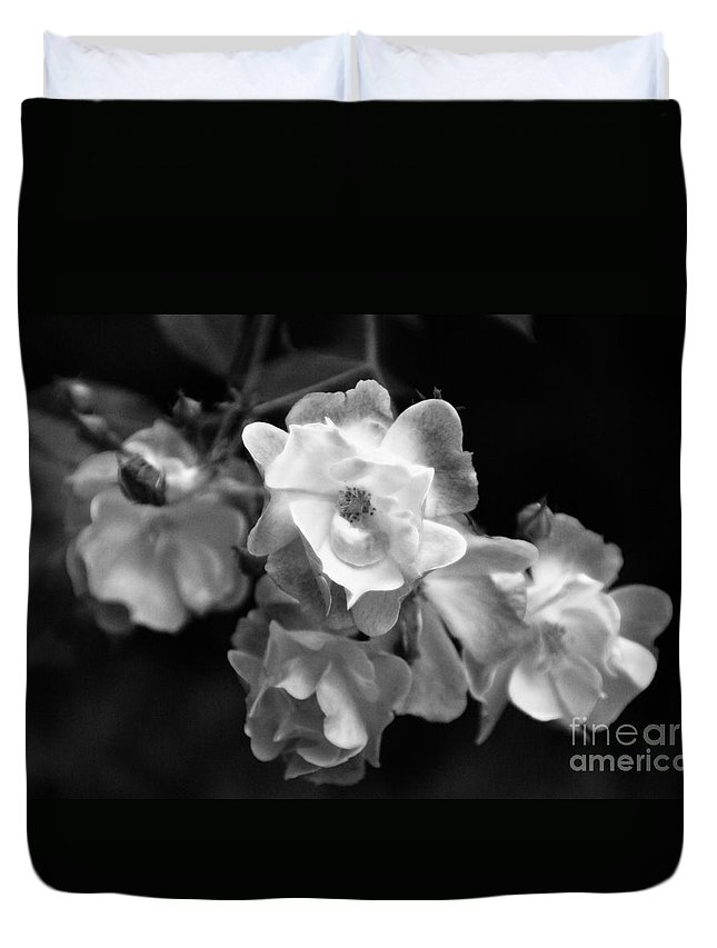 Roses Duvet Cover featuring the photograph Romance Bw by Linda Shafer