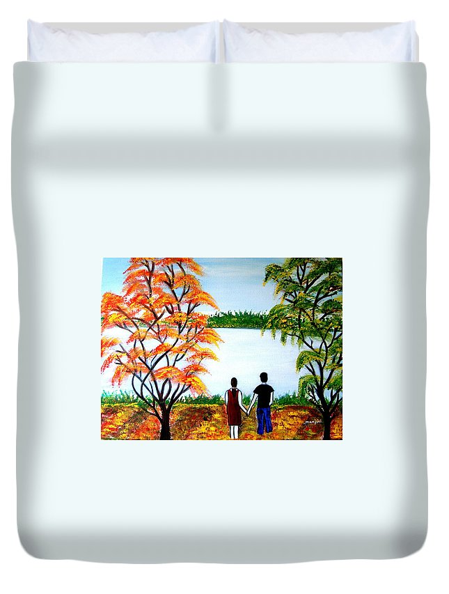 Romance Figures Autumn Orange Trees Green Pop Water Lake Love Valentine Yellow Lake Spring Bloom Duvet Cover featuring the painting Romance In Autumn by Manjiri Kanvinde