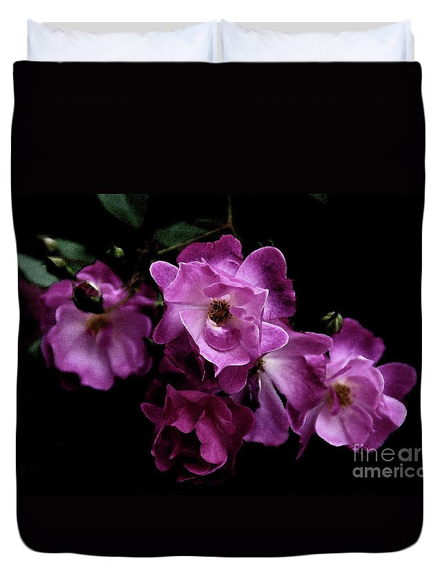 Rose Duvet Cover featuring the photograph Romance - Wc by Linda Shafer
