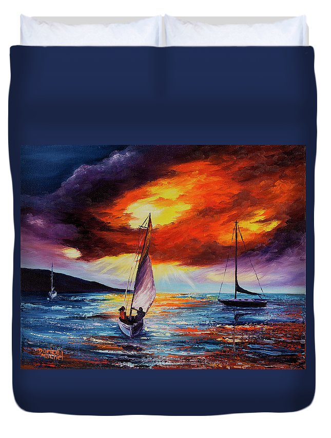 Darice Duvet Cover featuring the painting Romancing The Sail by Darice Machel McGuire