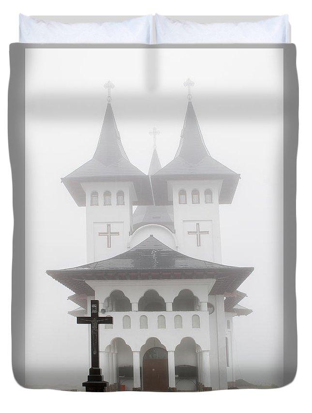 Romanian Church Duvet Cover featuring the photograph Romanian Church by Christian Hallweger