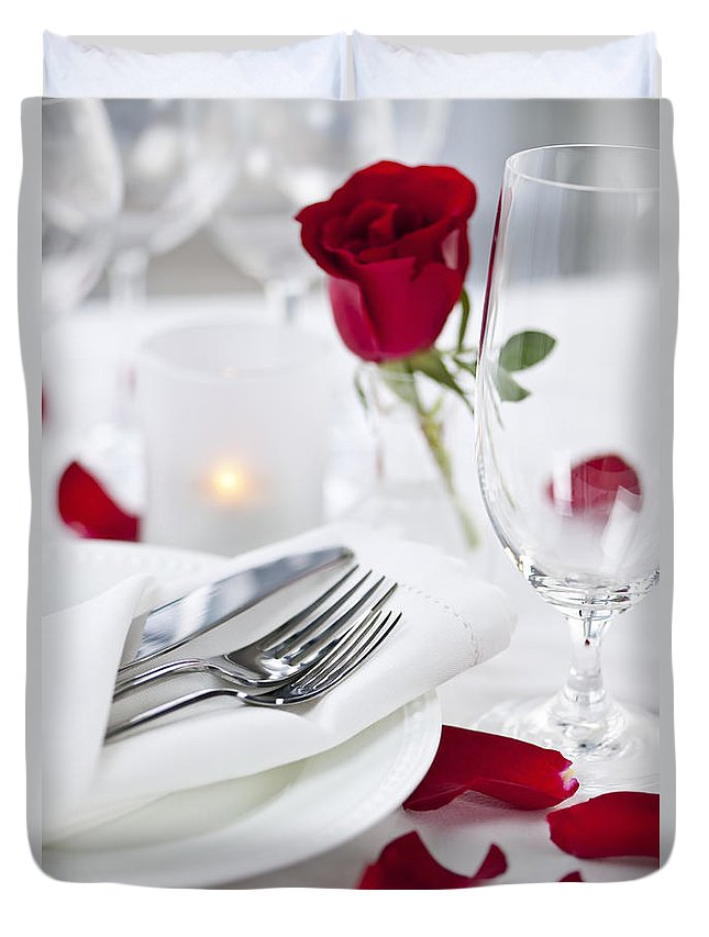 Romantic Duvet Cover featuring the photograph Romantic Dinner Setting With Rose Petals by Elena Elisseeva