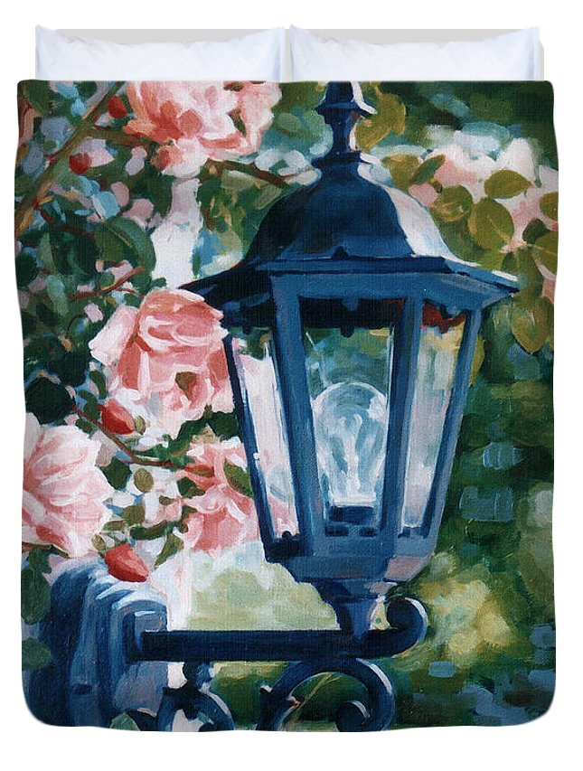 Roses Duvet Cover featuring the painting Romantic Fragrance by Iliyan Bozhanov