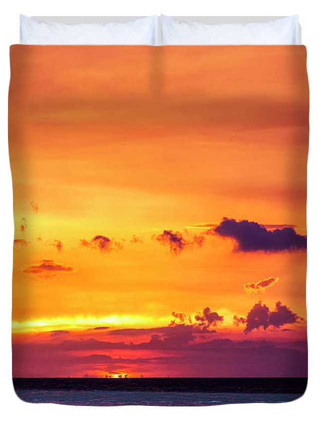 Romantic Sunset At The Cuban Beach; Cuban; Cuba; Sunset; Beach; Couple; Beach; Sand; Sea; Seaside; Shore; Clouds; Sun; Romance; Romantic; Colourful; Hope; Faith; Love; Happiness; Photography & Digital Art; Photography; Photo; Photo Art; Art; Digital Art; 2bhappy4ever; 2bhappy4ever.com; 2bhappy4evercom; Tobehappyforever; Duvet Cover featuring the photograph Romantic Sunset at the Cuban Beach by Erron