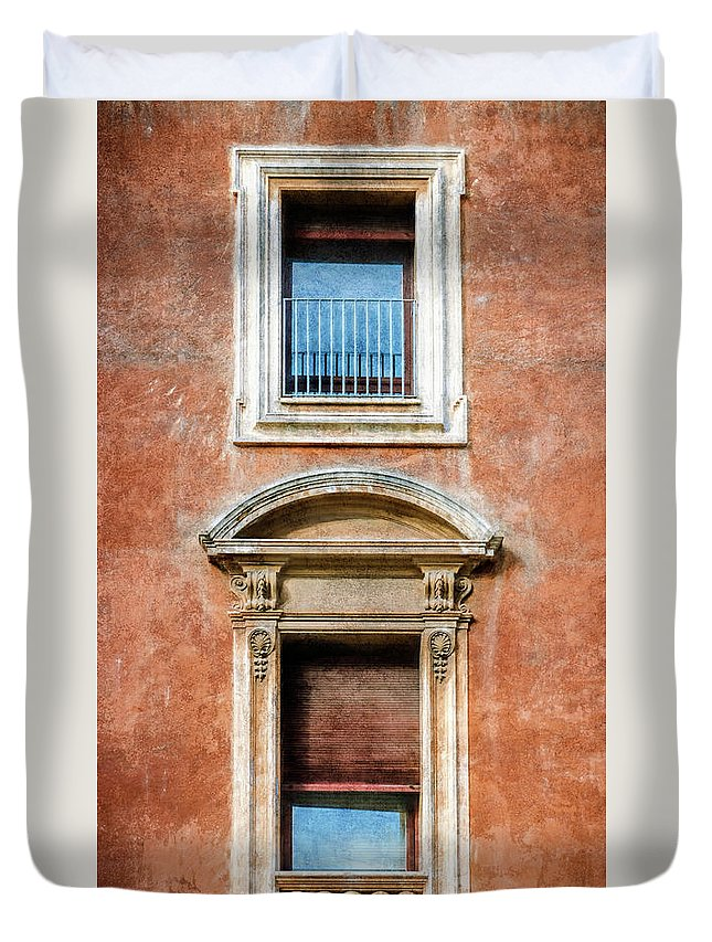 Joan Carroll Duvet Cover featuring the photograph Rome Windows And Balcony Textured by Joan Carroll